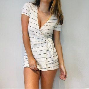 Zara white stitch striped wrap romper